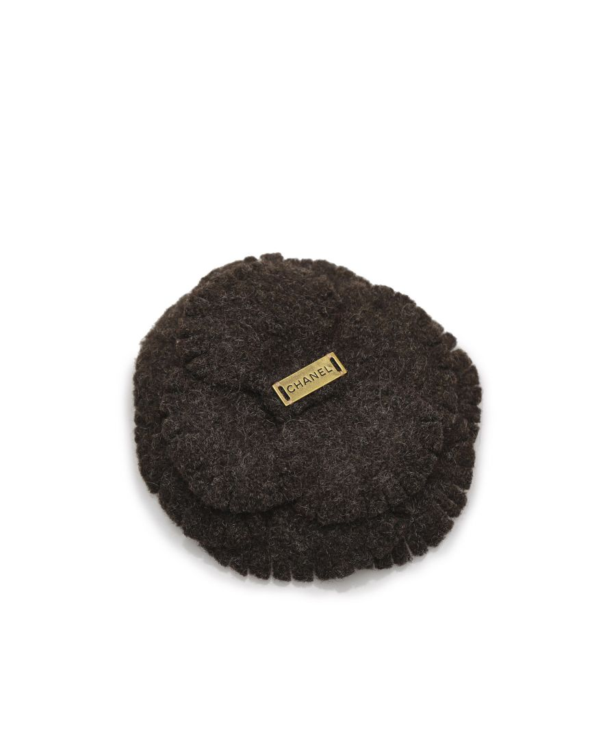Image for Vintage Chanel Camellia Wool Brooch Brown