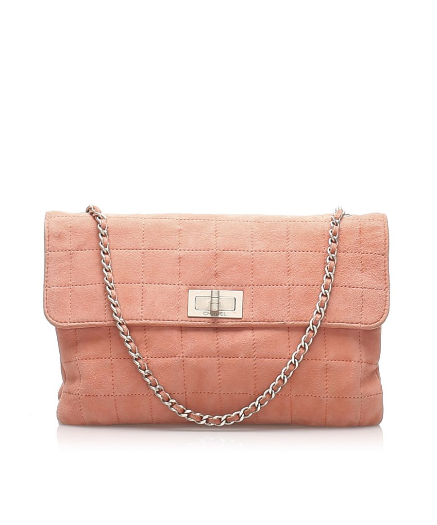 Image for Vintage Chanel Choco Bar Reissue Suede Flap Bag Pink
