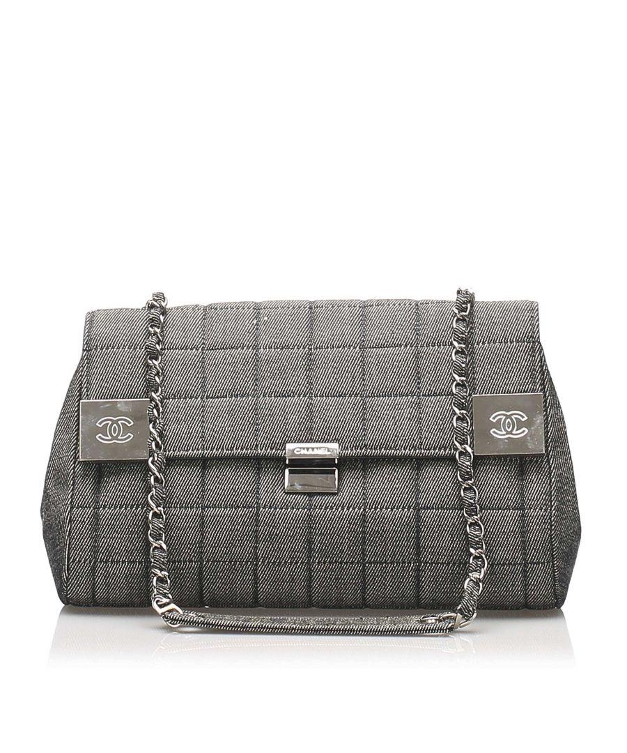 Image for Vintage Chanel Choco Bar Denim Flap Bag Gray