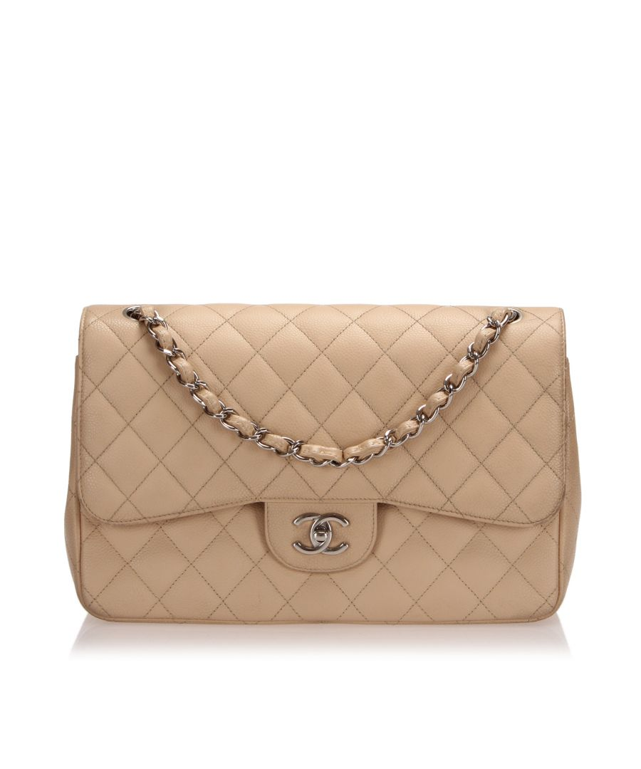 Image for Vintage Chanel Jumbo Classic Caviar Leather Double Flap Bag Brown