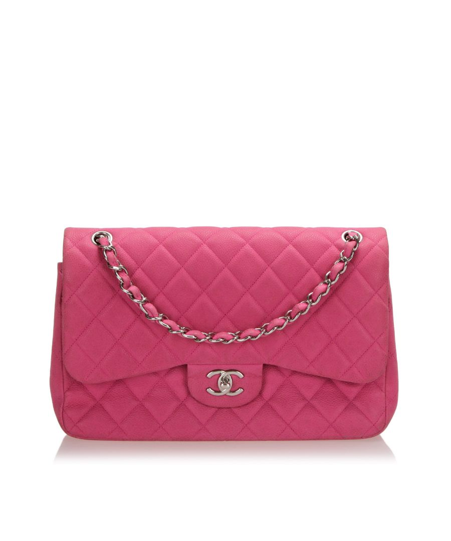 Image for Vintage Chanel Jumbo Classic Caviar Leather Double Flap Bag Pink