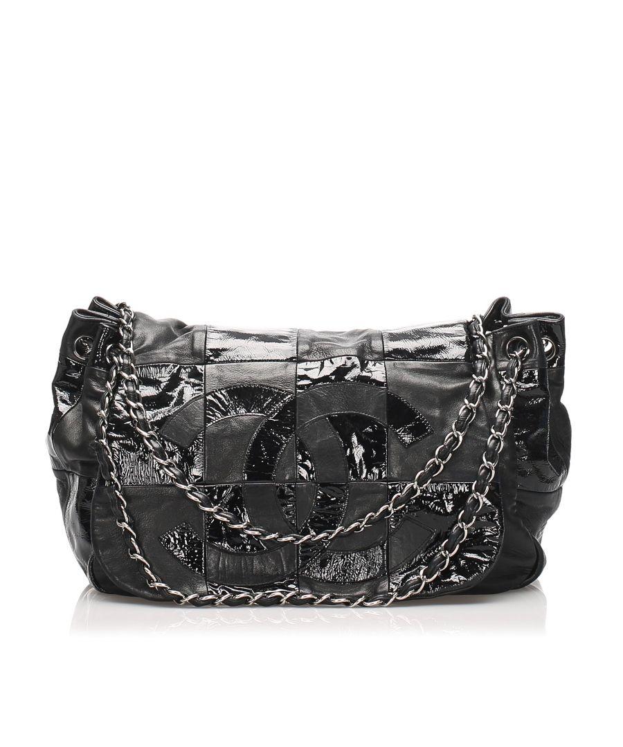 Image for Vintage Chanel Accordion CC Brooklyn Leather Flap Bag Black