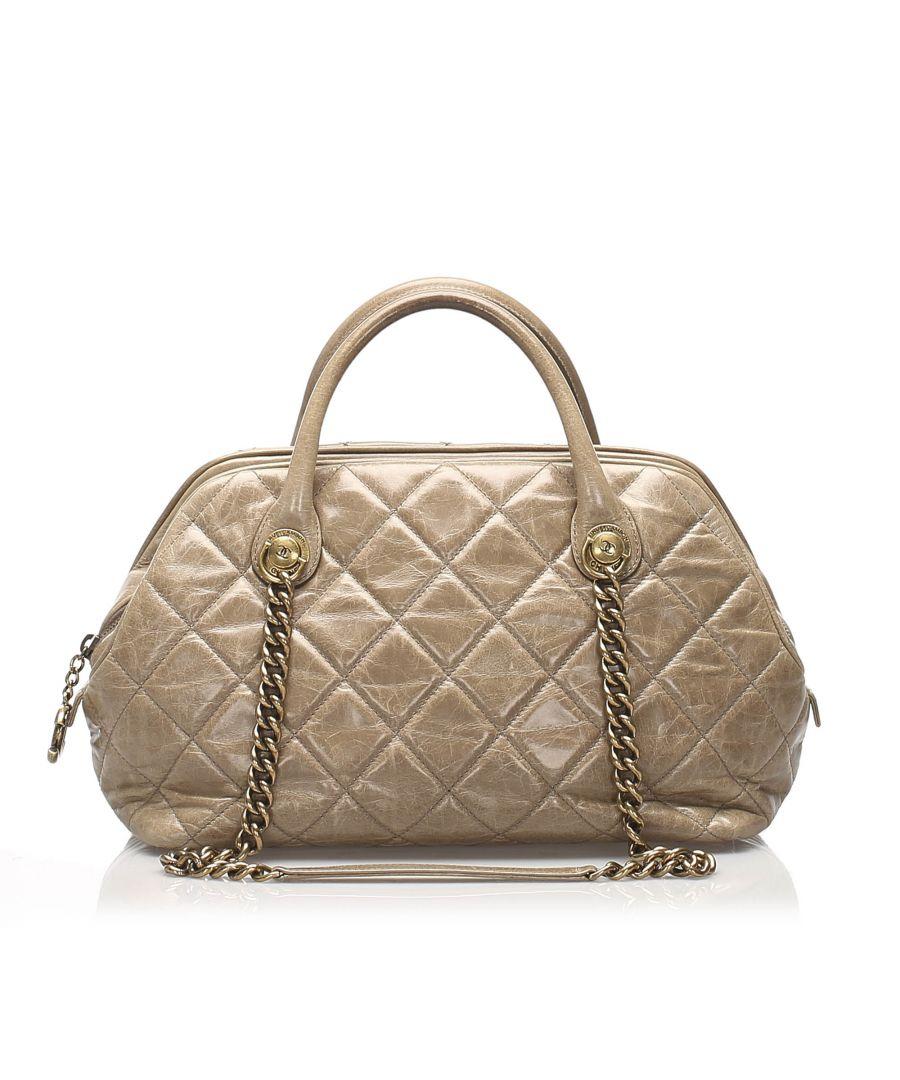 Image for Vintage Chanel Matelasse Lambskin Leather Satchel Brown