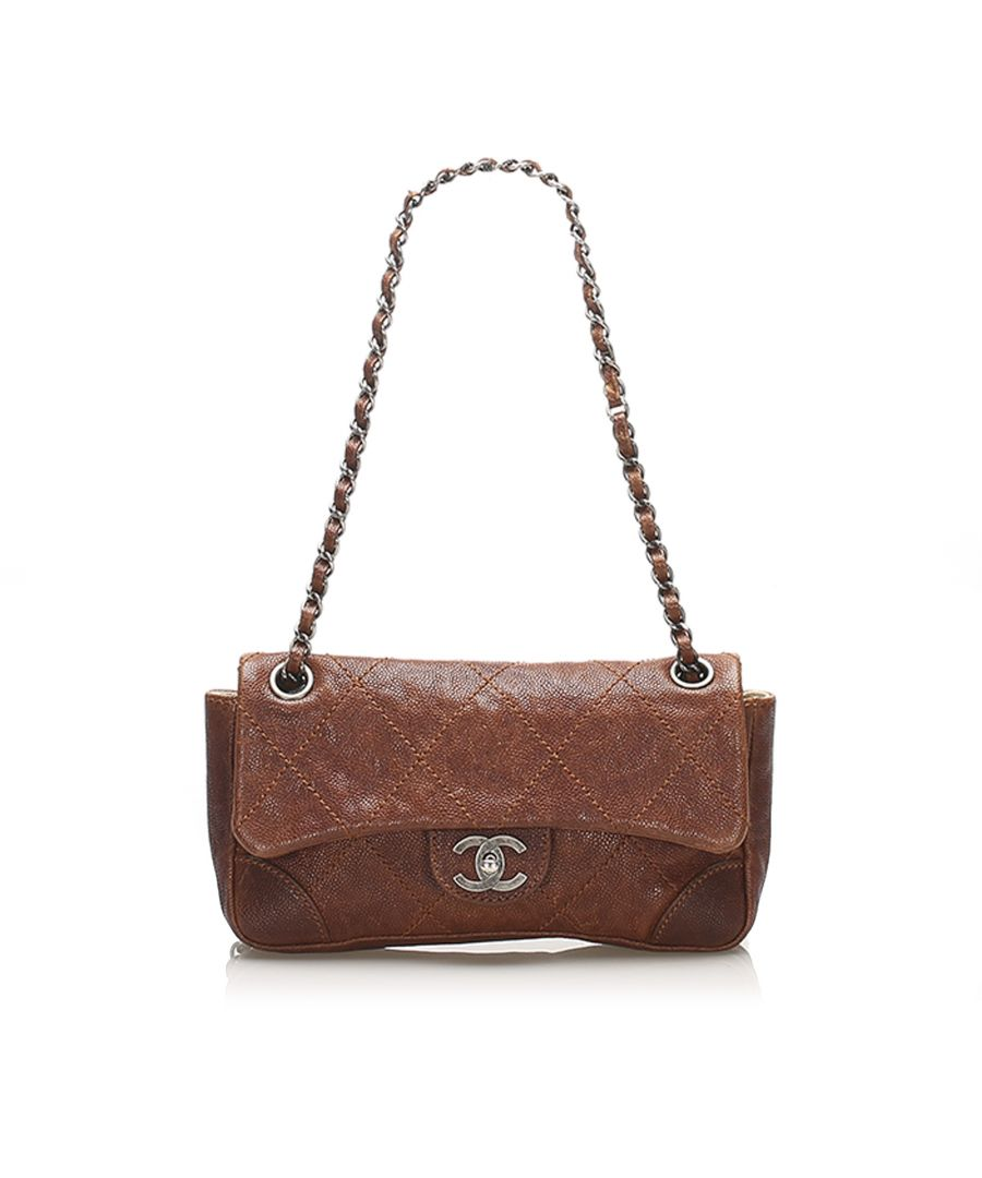 Image for Vintage Chanel Caviar Leather Wild Stitch Single Flap Brown