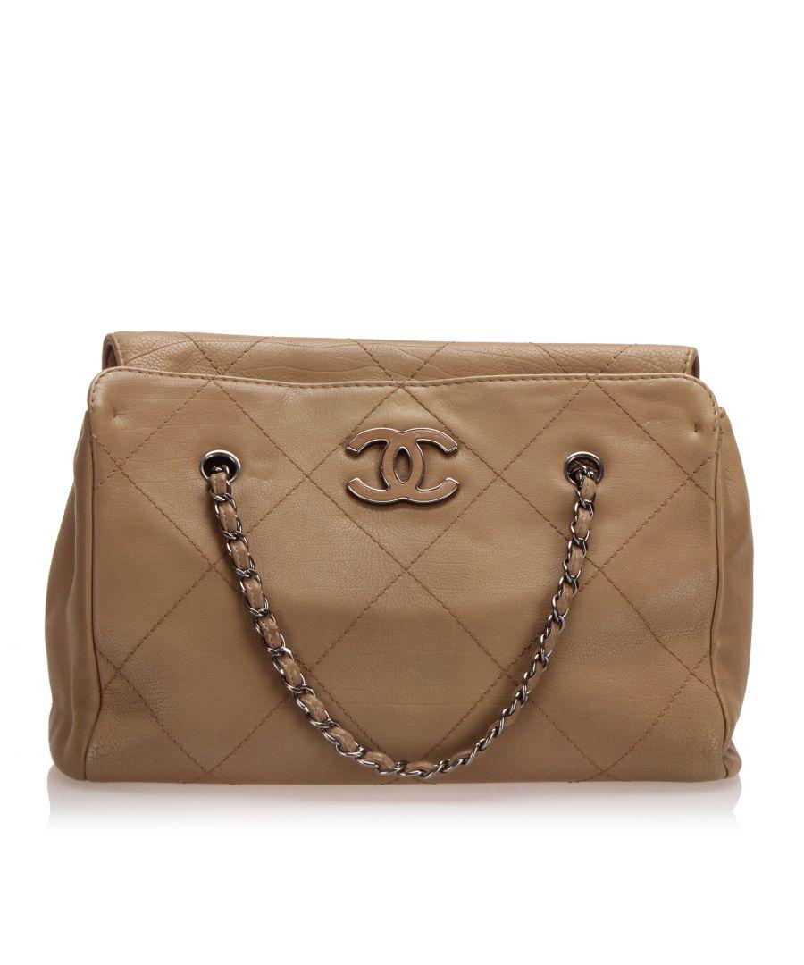 Image for Vintage Chanel Wild Stitch Leather Shoulder Bag Brown