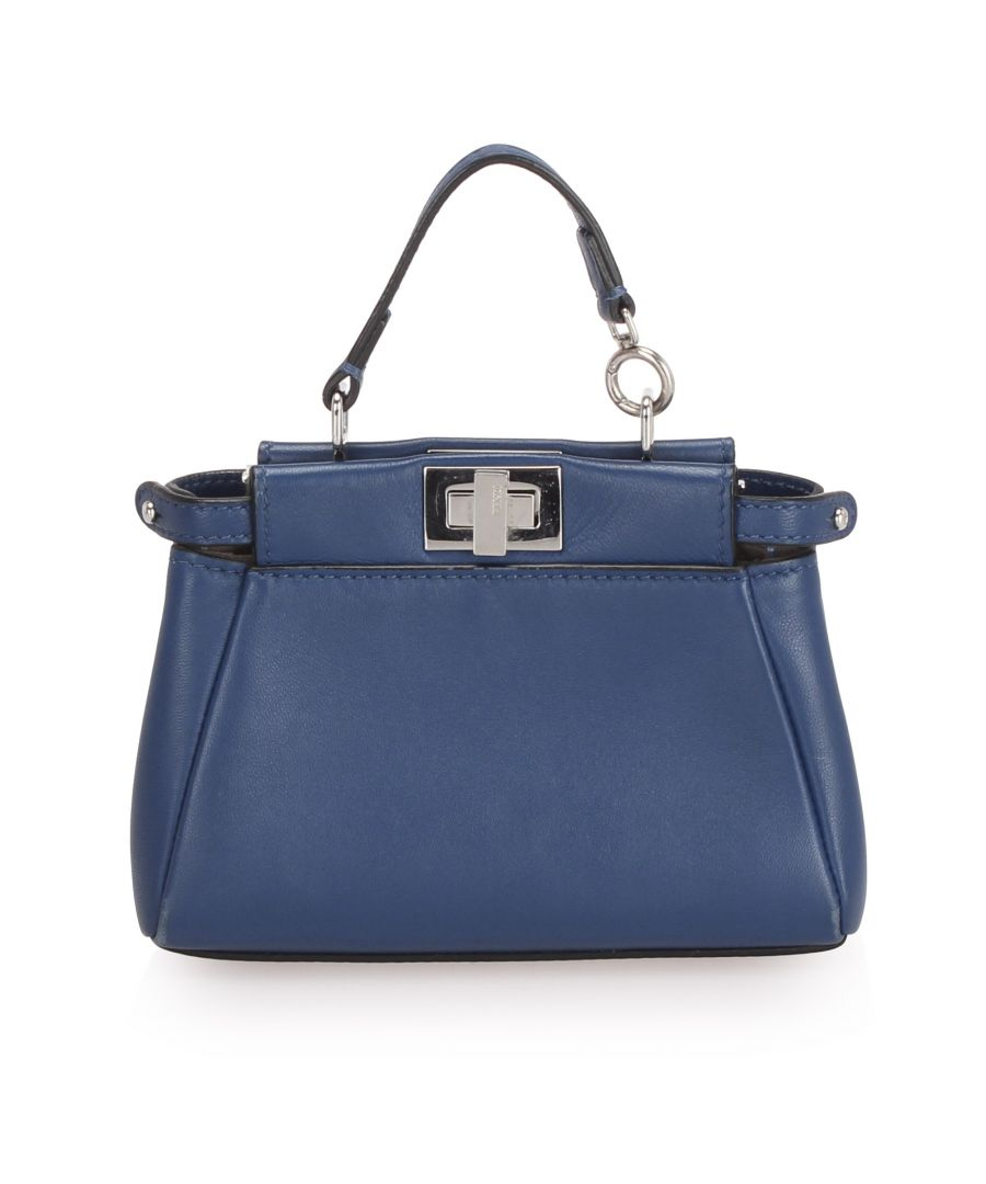 Image for Vintage Fendi Micro Peekaboo Leather Crossbody Bag Blue