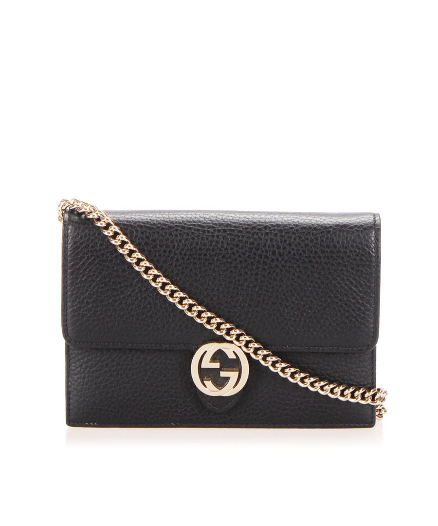 Image for Vintage Gucci Interlocking G Leather Wallet On Chain Black