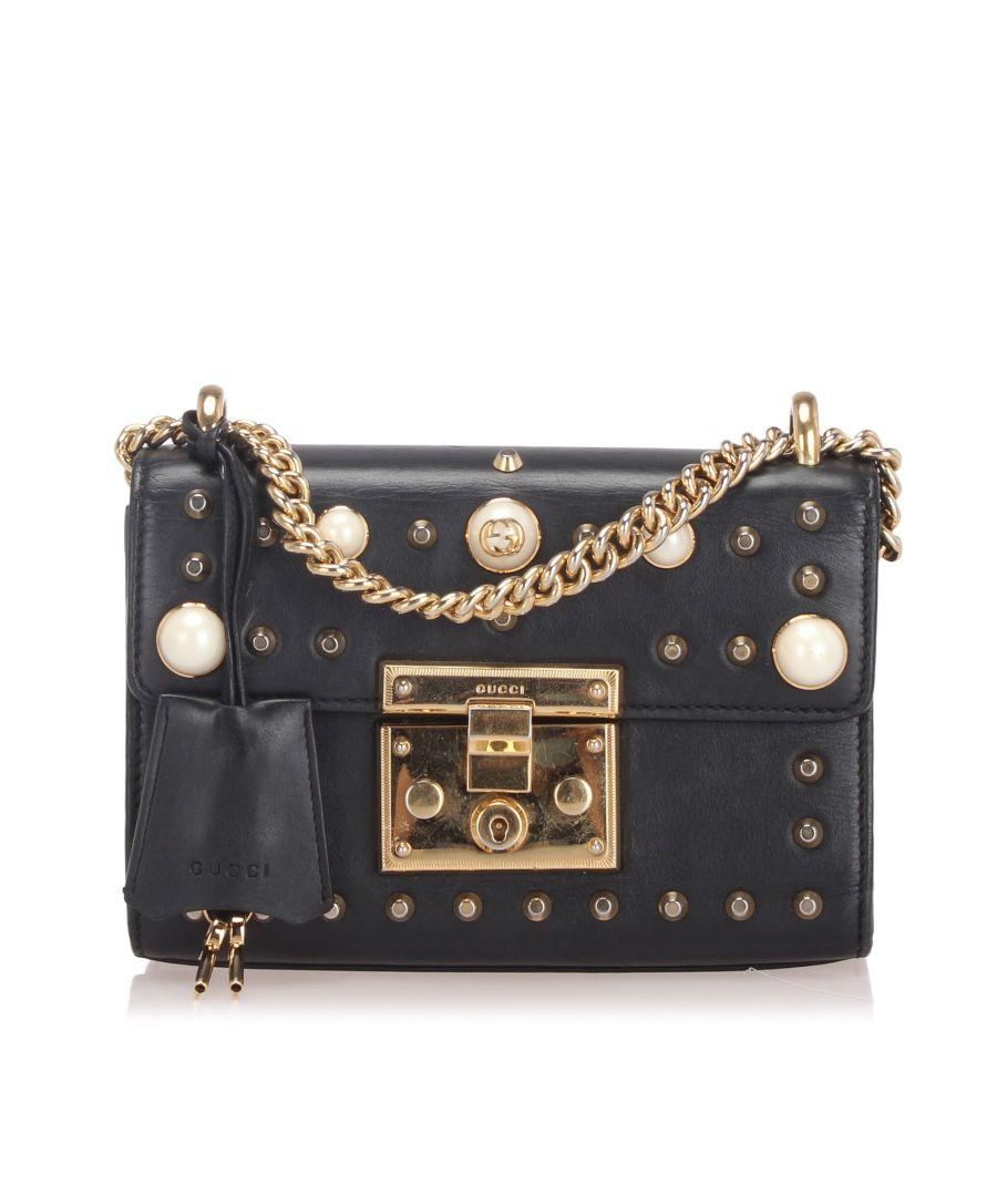 Image for Vintage Gucci Small Studded Padlock Leather Shoulder Bag Black