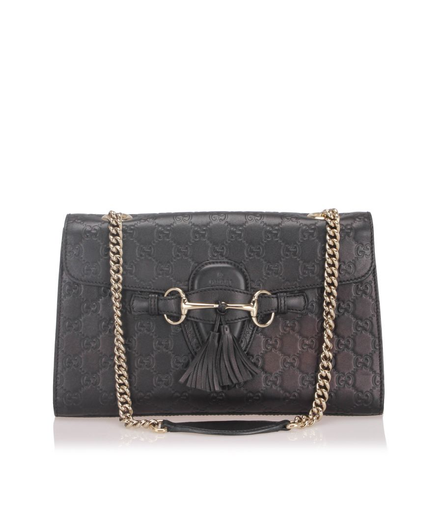 Image for Vintage Gucci Guccissima Emily Shoulder Bag Black