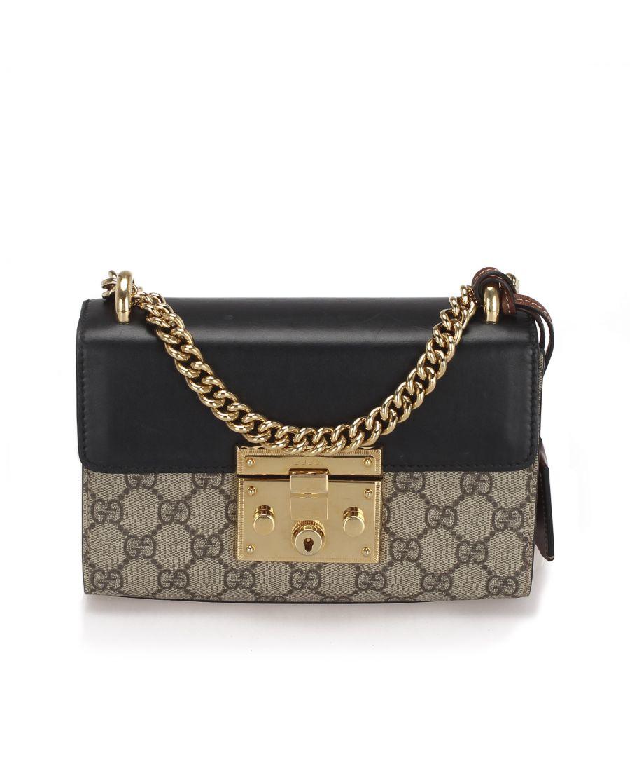 Image for Vintage Gucci Small GG Supreme Padlock Crossbody Bag Brown