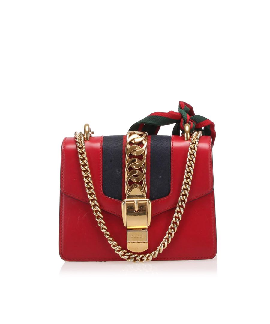 Image for Vintage Gucci Mini Sylvie Leather Chain Shoulder Bag Red