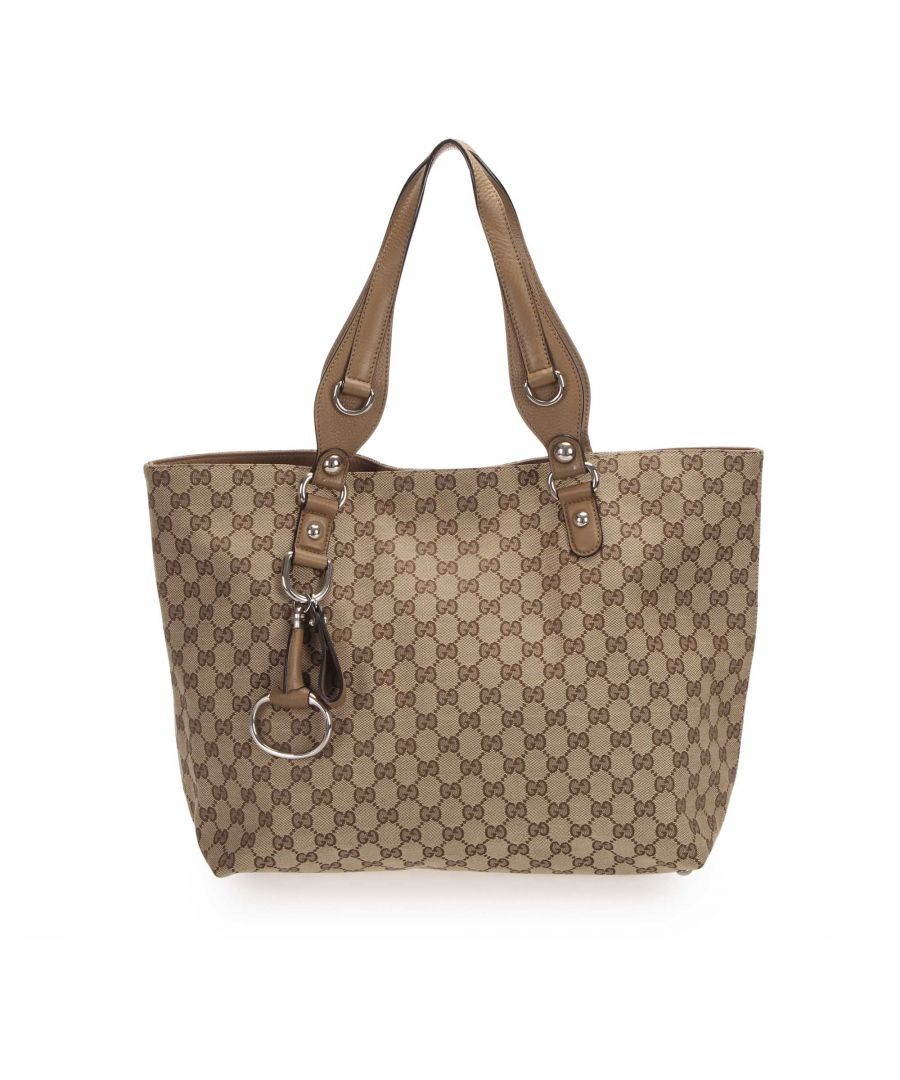 Image for Vintage Gucci GG Icon Bit Tote Bag Brown