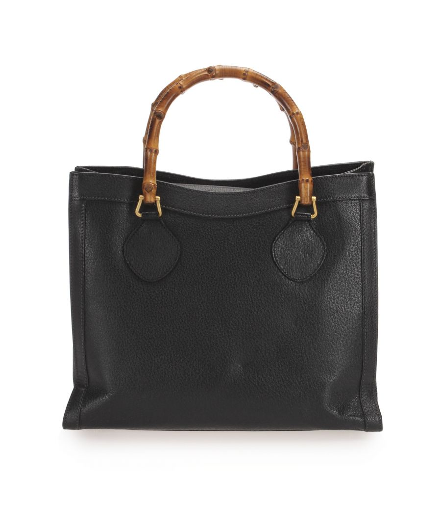 Image for Vintage Gucci Bamboo Leather Tote Bag Black