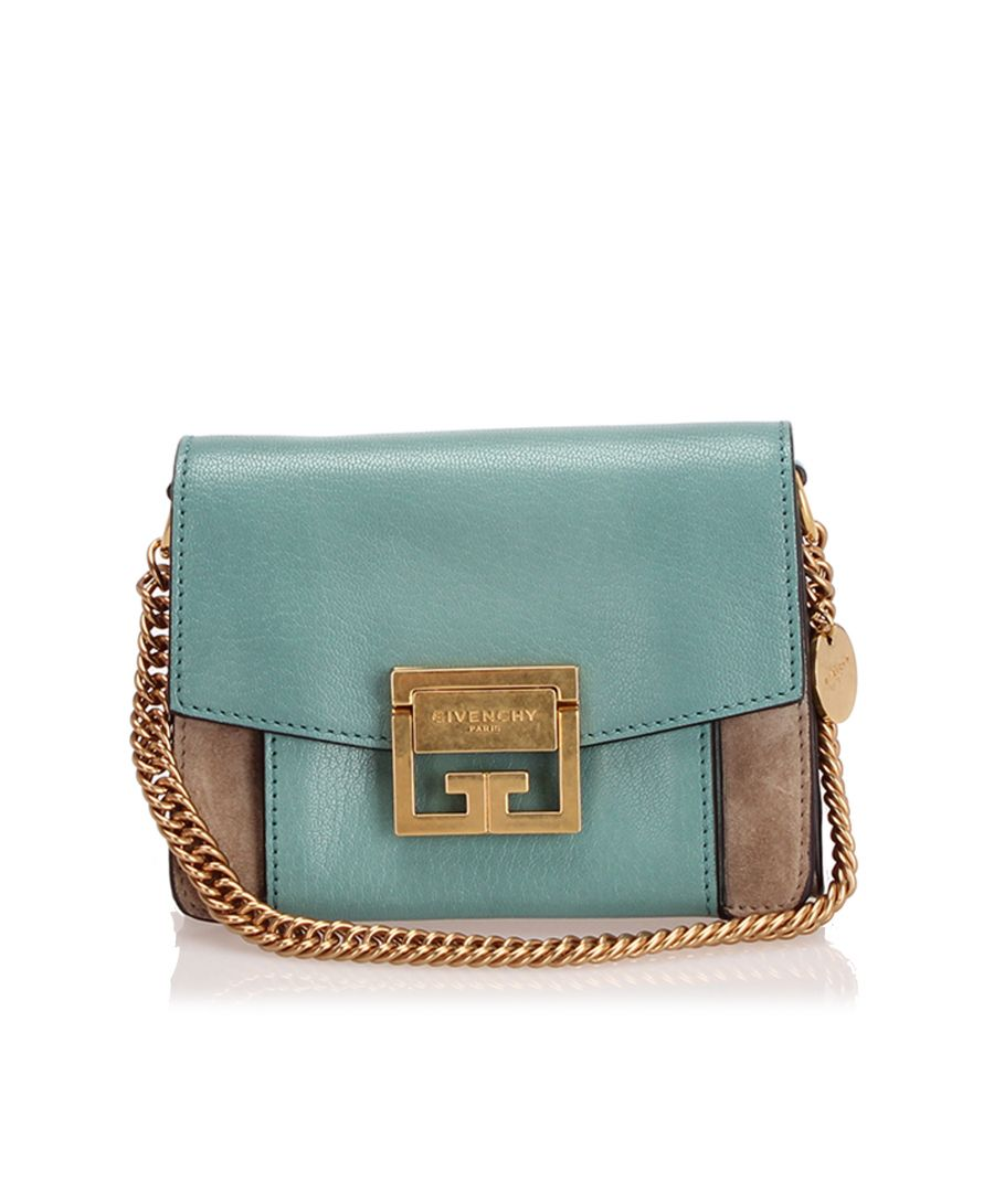 Image for Vintage Givenchy Mini GV3 Leather Crossbody Bag Green