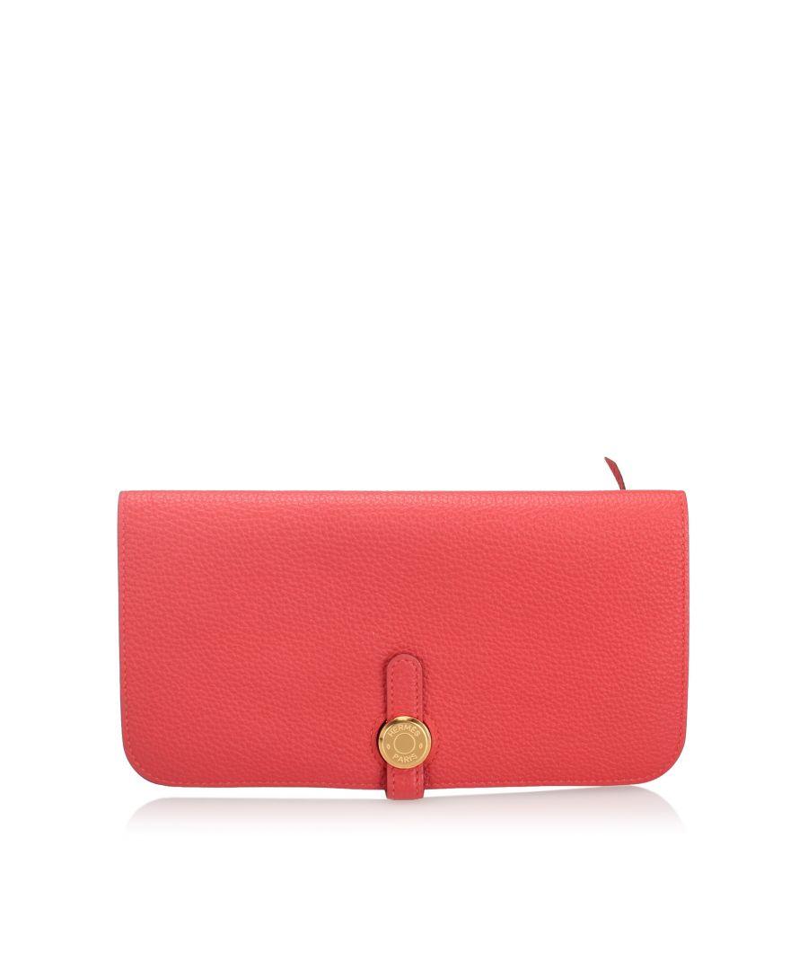 Image for Vintage Hermes Clemence Dogon Long Wallet Red