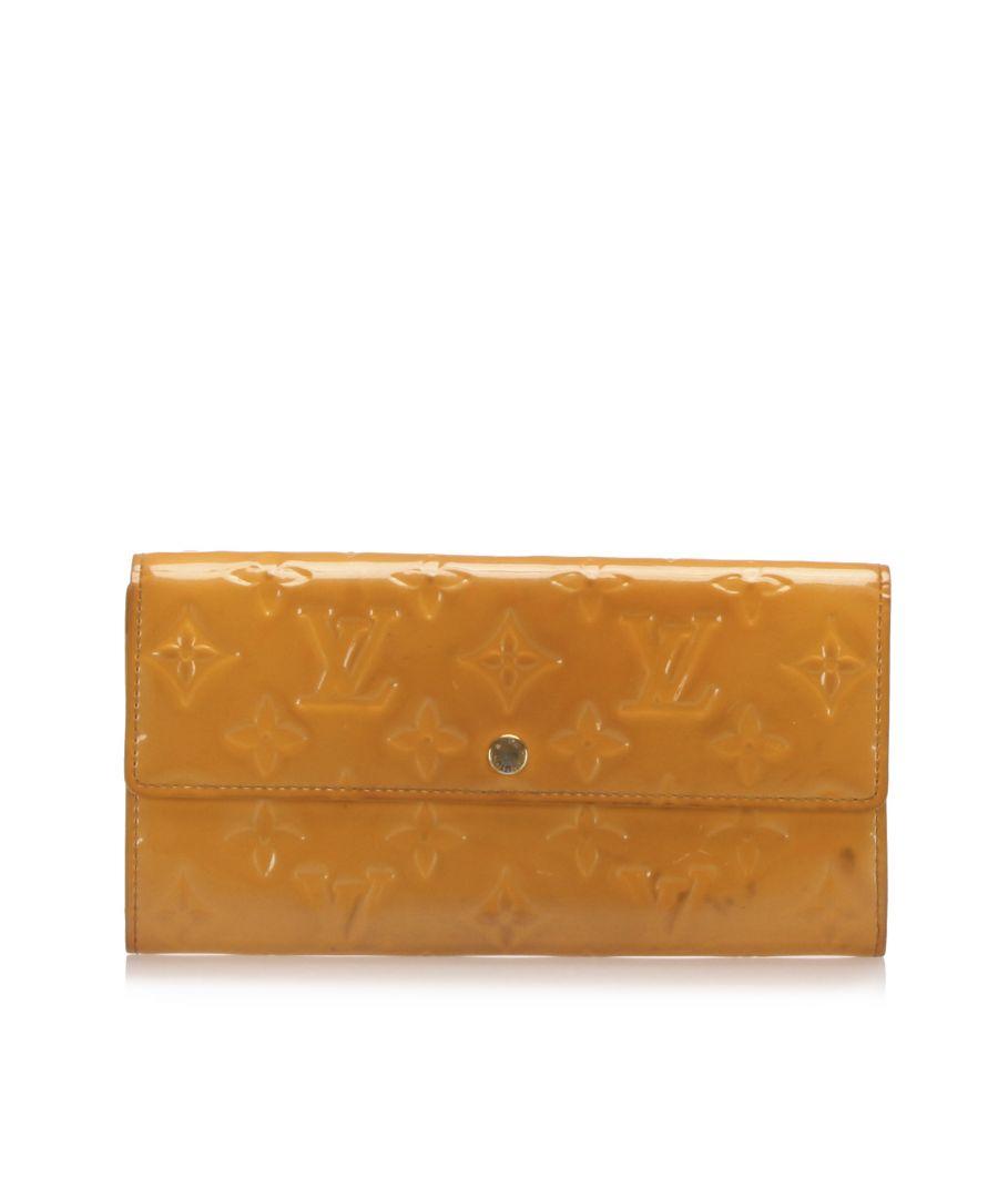 Image for Vintage Louis Vuitton Vernis Sarah Long Wallet Orange