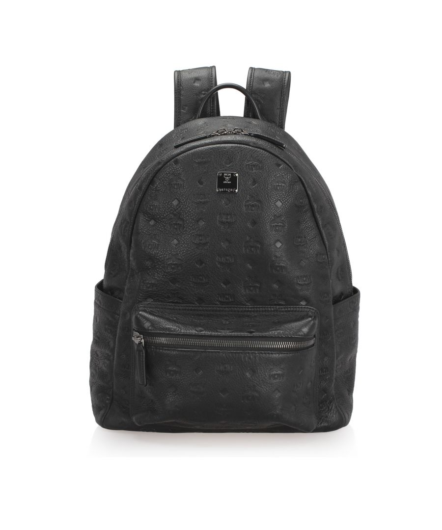 Image for Vintage MCM Visetos Stark Leather Backpack Black