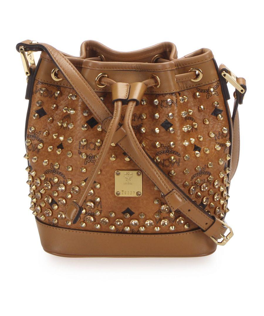 Image for Vintage MCM Visetos Studded Leather Bucket Bag Brown