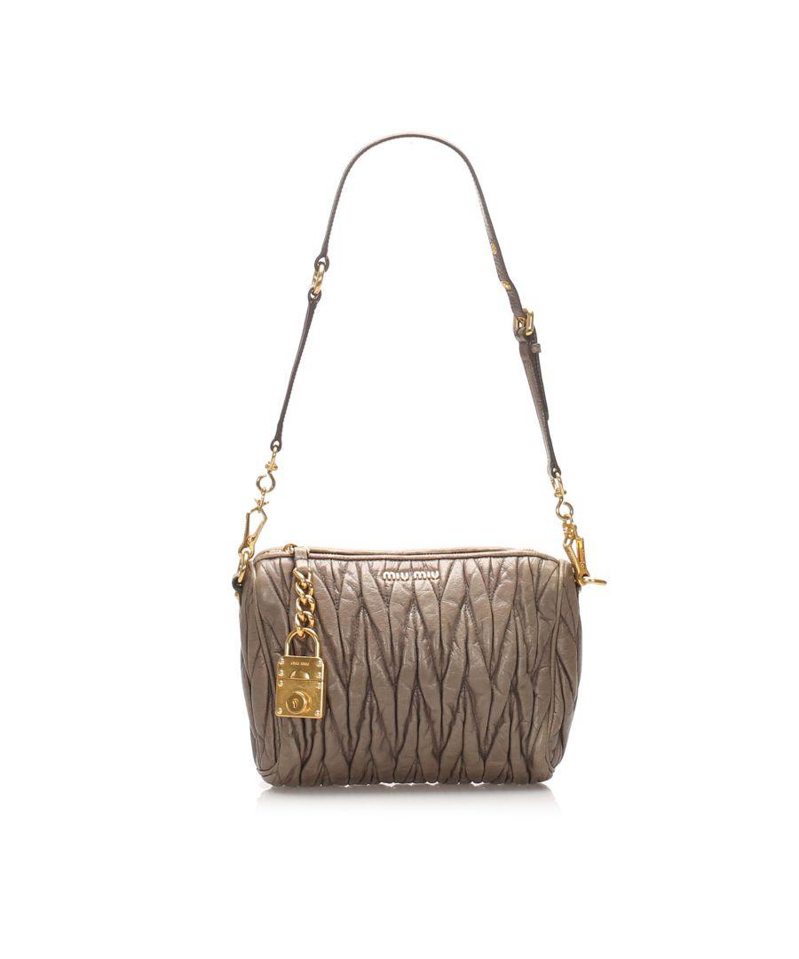 Image for Vintage Miu Miu Matelasse Leather Shoulder Bag Brown