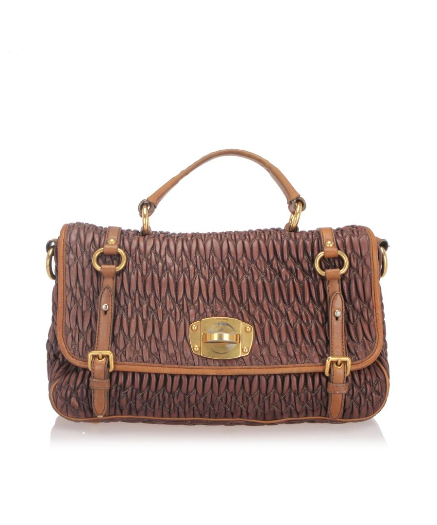 Image for Vintage Miu Miu Matelasse Leather Satchel Brown