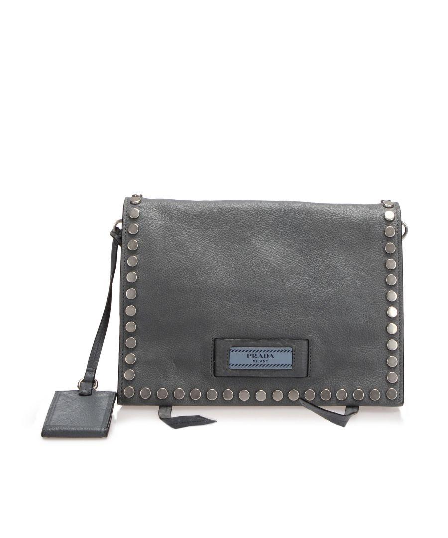 Image for Vintage Prada Etiquette Leather Crossbody Bag Gray