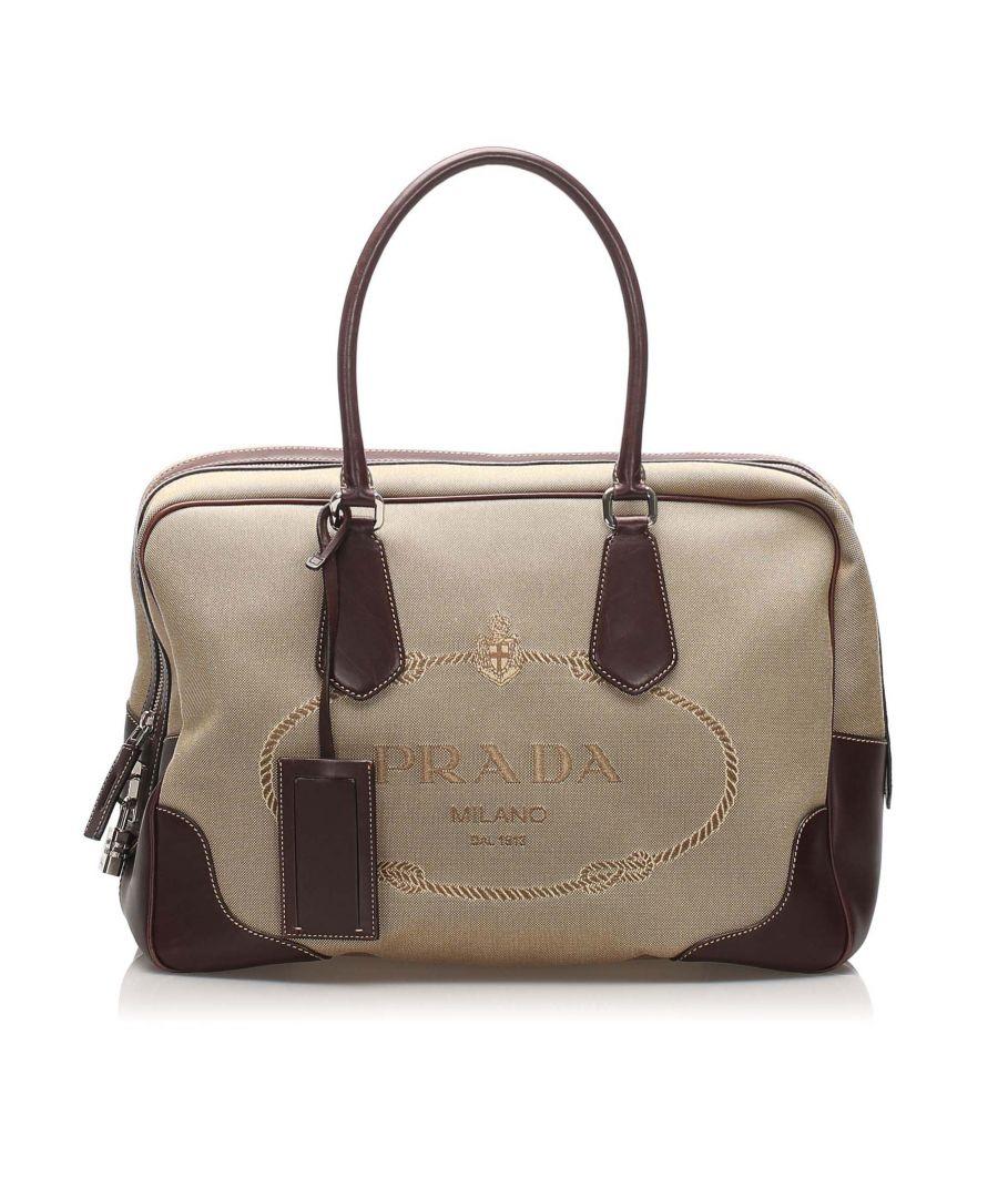 Image for Vintage Prada Canapa Canvas Handbag Brown