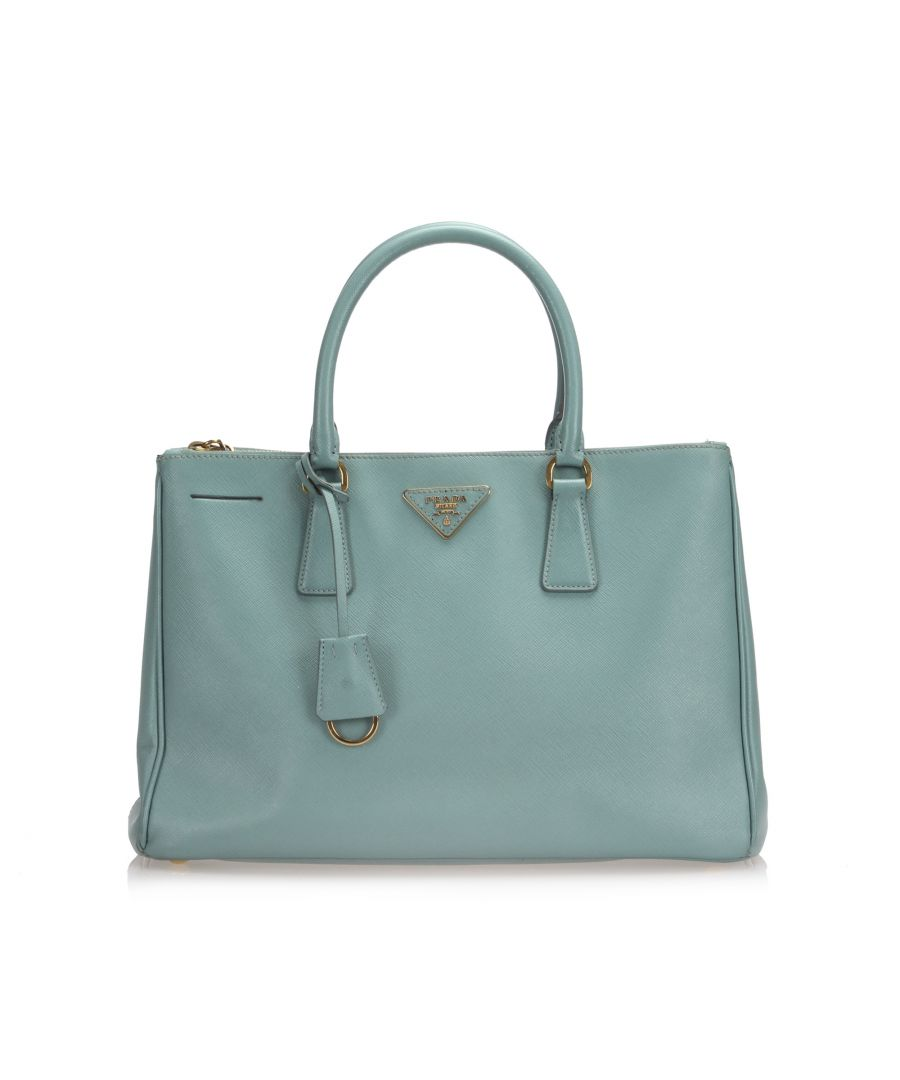 Image for Vintage Prada Saffiano Galleria Satchel Blue