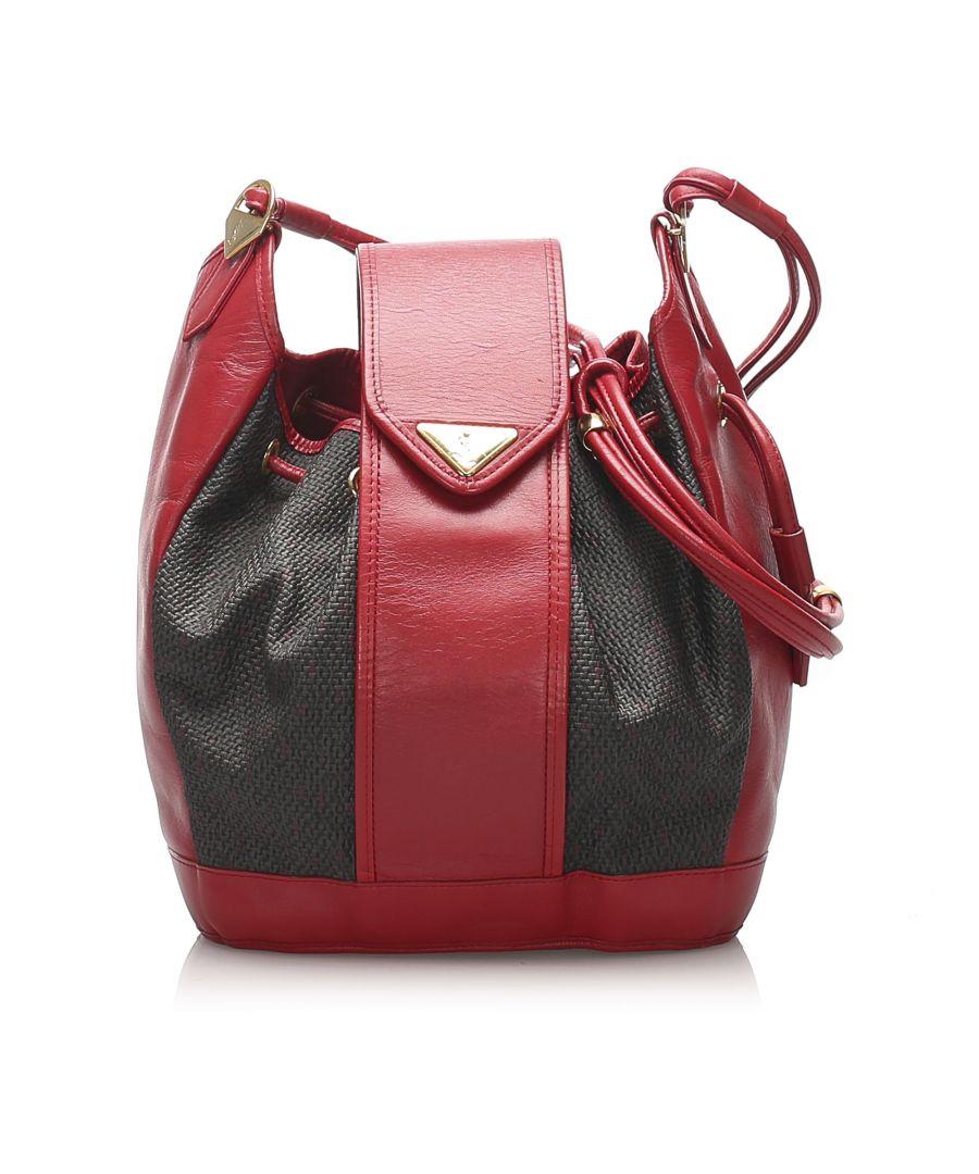 Image for Vintage YSL Drawstring Canvas Bucket Bag Red