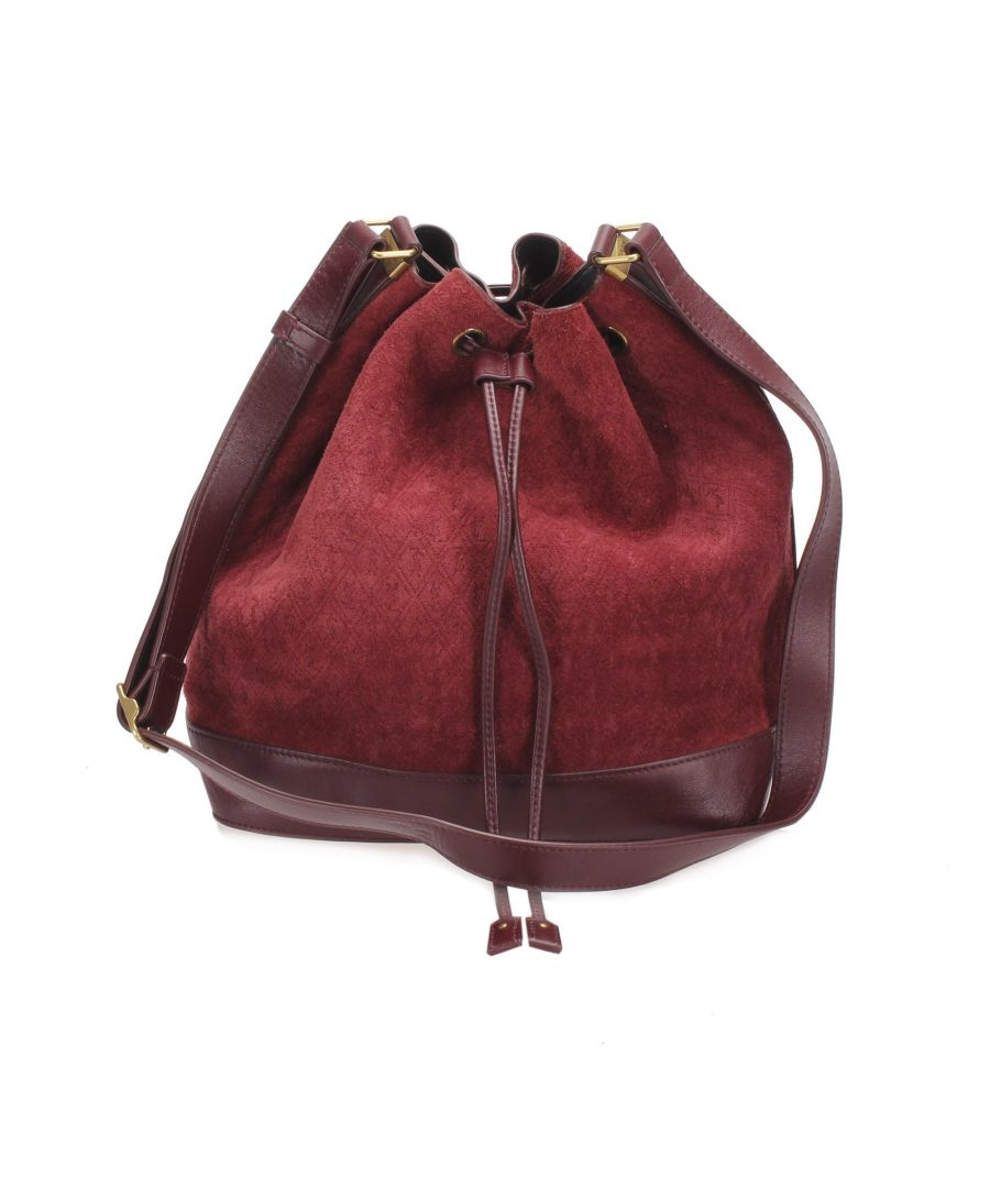 Image for Vintage YSL Monogram Suede Bucket Bag Red