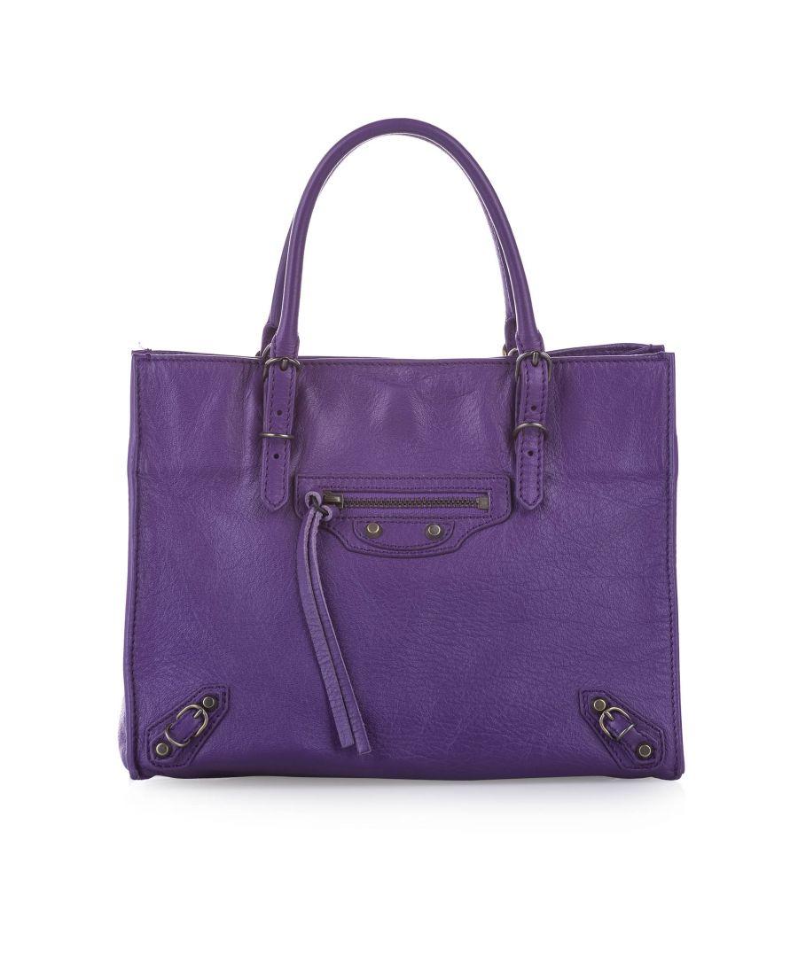 Image for Vintage Balenciaga Papier A4 Leather Satchel Purple