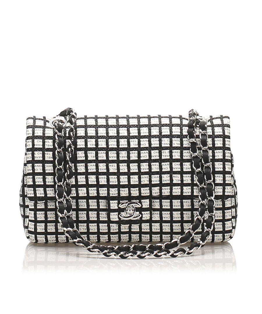 Image for Vintage Chanel Medium Canvas Chain Double Flap Bag Black