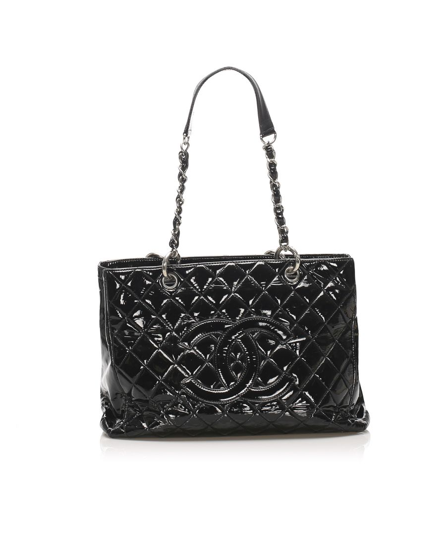 Image for Vintage Chanel Grand Shopping Patent Leather Tote Bag Black