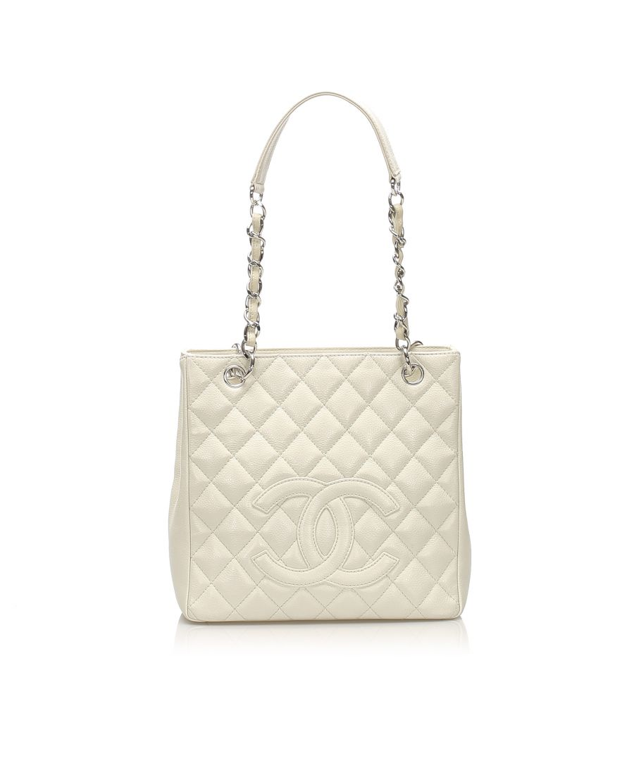 Image for Vintage Chanel Caviar Petite Shopping Tote Bag White