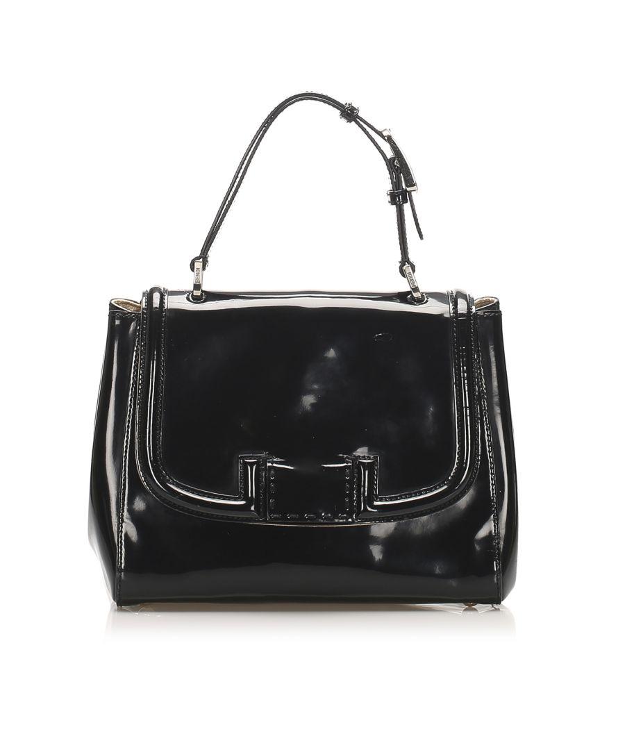 Image for Vintage Fendi Silvana Patent Leather Satchel Black