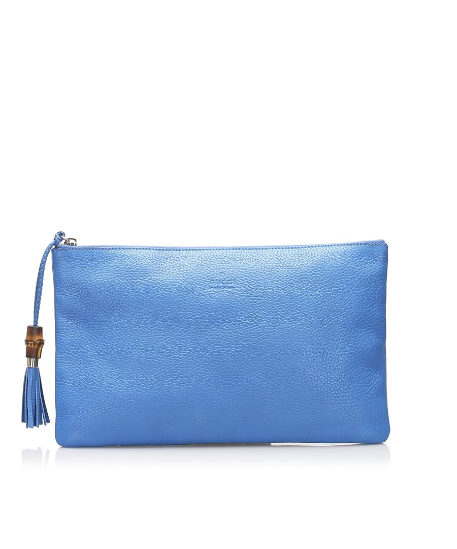 Image for Vintage Gucci Bamboo Leather Clutch Bag Blue