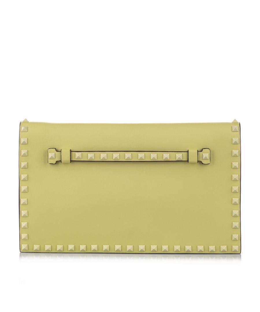 Image for Vintage Valentino Rockstud Leather Clutch Bag Green