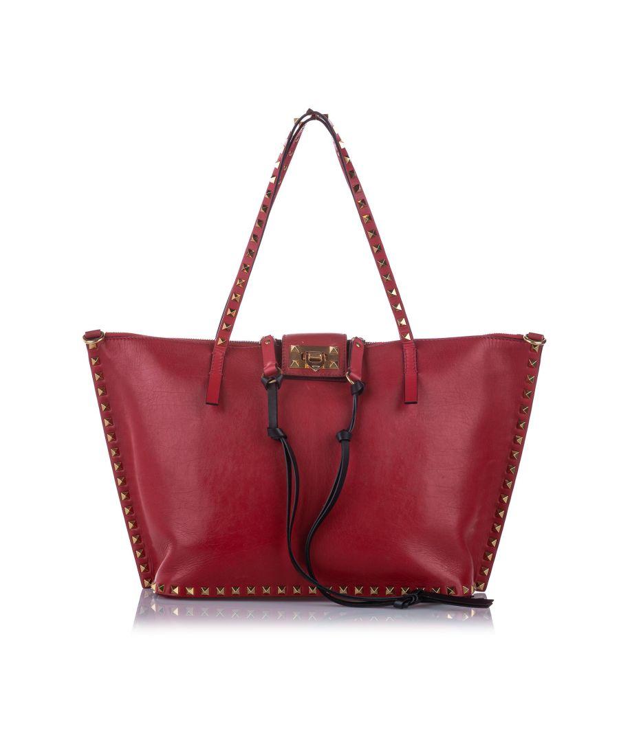 Image for Vintage Valentino Rockstud Leather Satchel Red