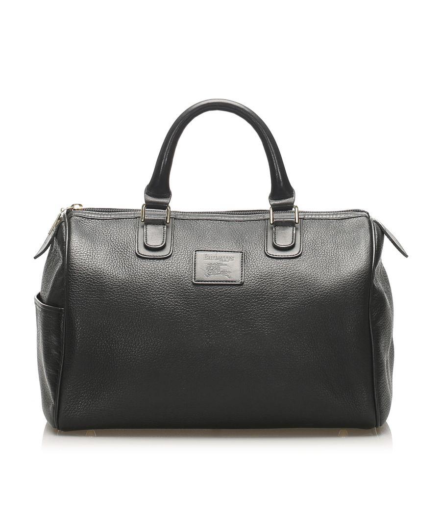 Image for Vintage Burberry Leather Boston Bag Black
