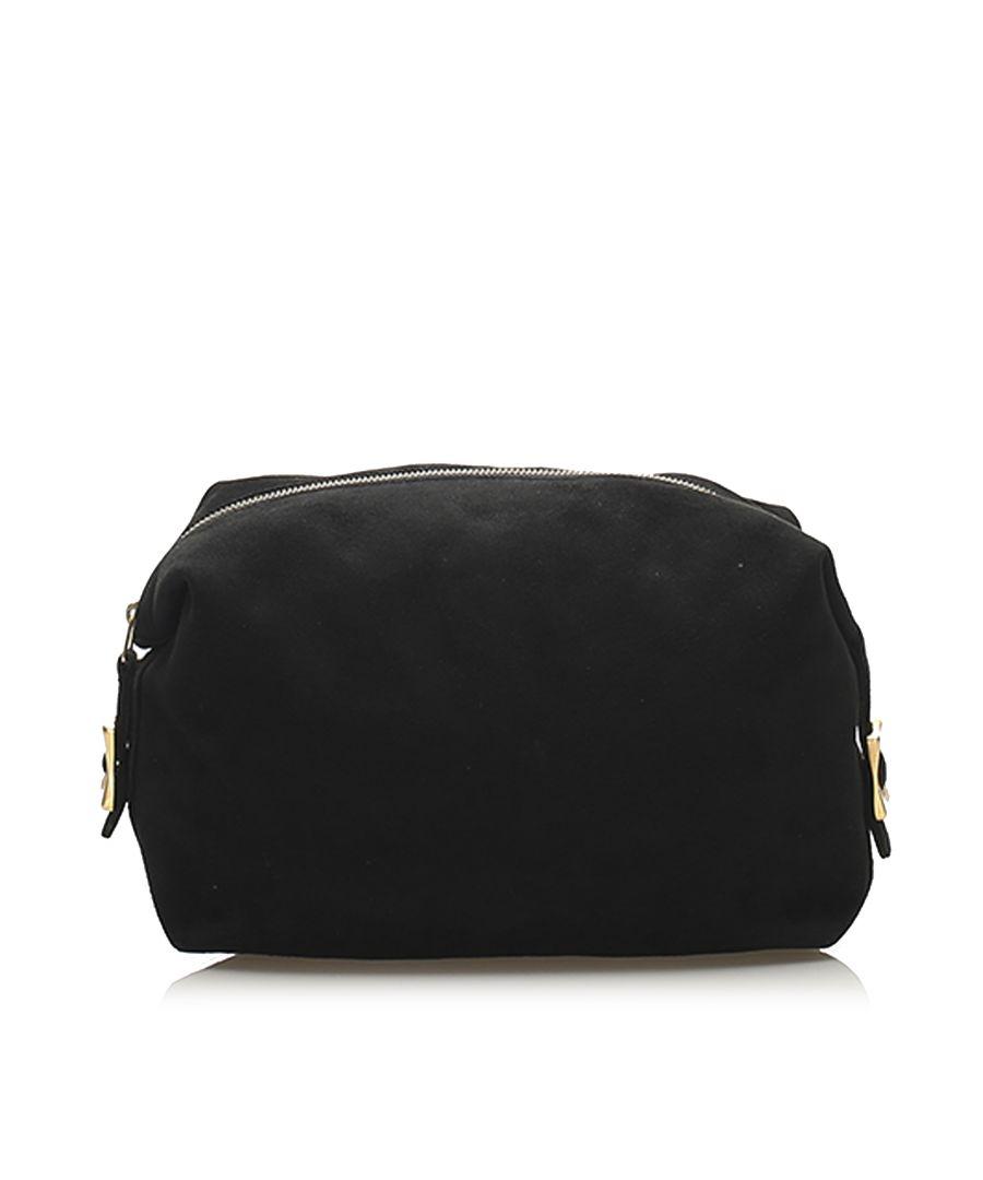 Image for Vintage Celine Suede Clutch Bag Black