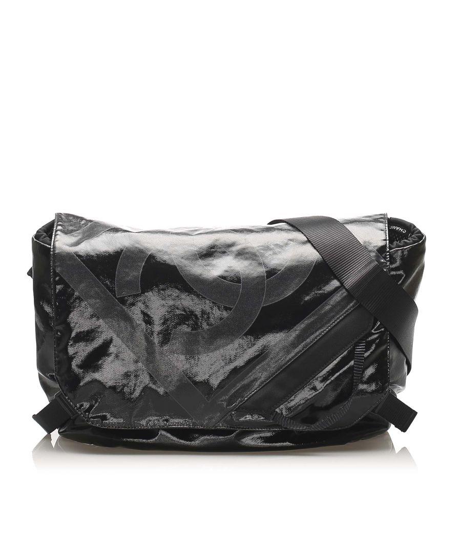 Image for Vintage Chanel CC Nylon Crossbody Bag Black