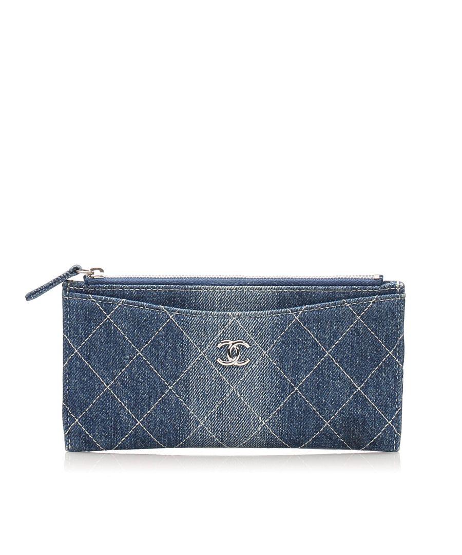 Image for Vintage Chanel CC Timeless Denim Wallet Blue