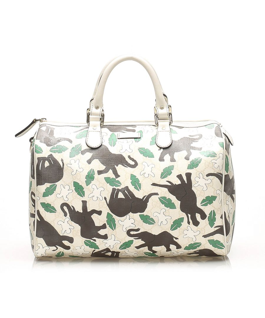 Image for Vintage Gucci Elephant Print Joy PVC Boston Bag White