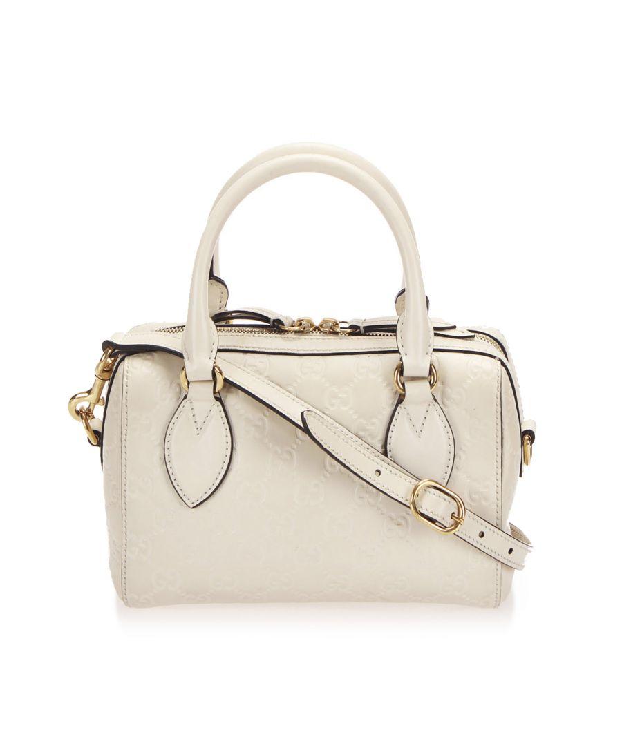 Image for Vintage Gucci Guccissima Leather Boston Bag White