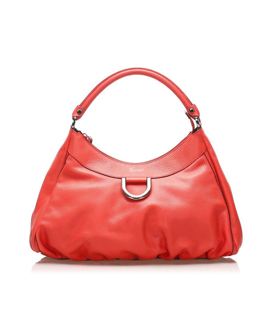 Image for Vintage Gucci Abbey D-Ring Leather Shoulder Bag Red