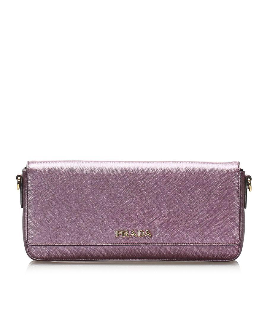 Image for Vintage Prada Saffiano Leather Shoulder Bag Purple