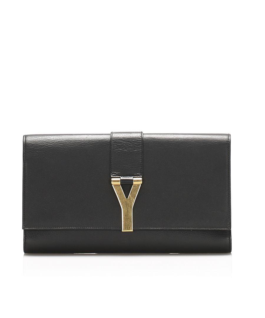 Image for Vintage YSL Leather Clutch Bag Black