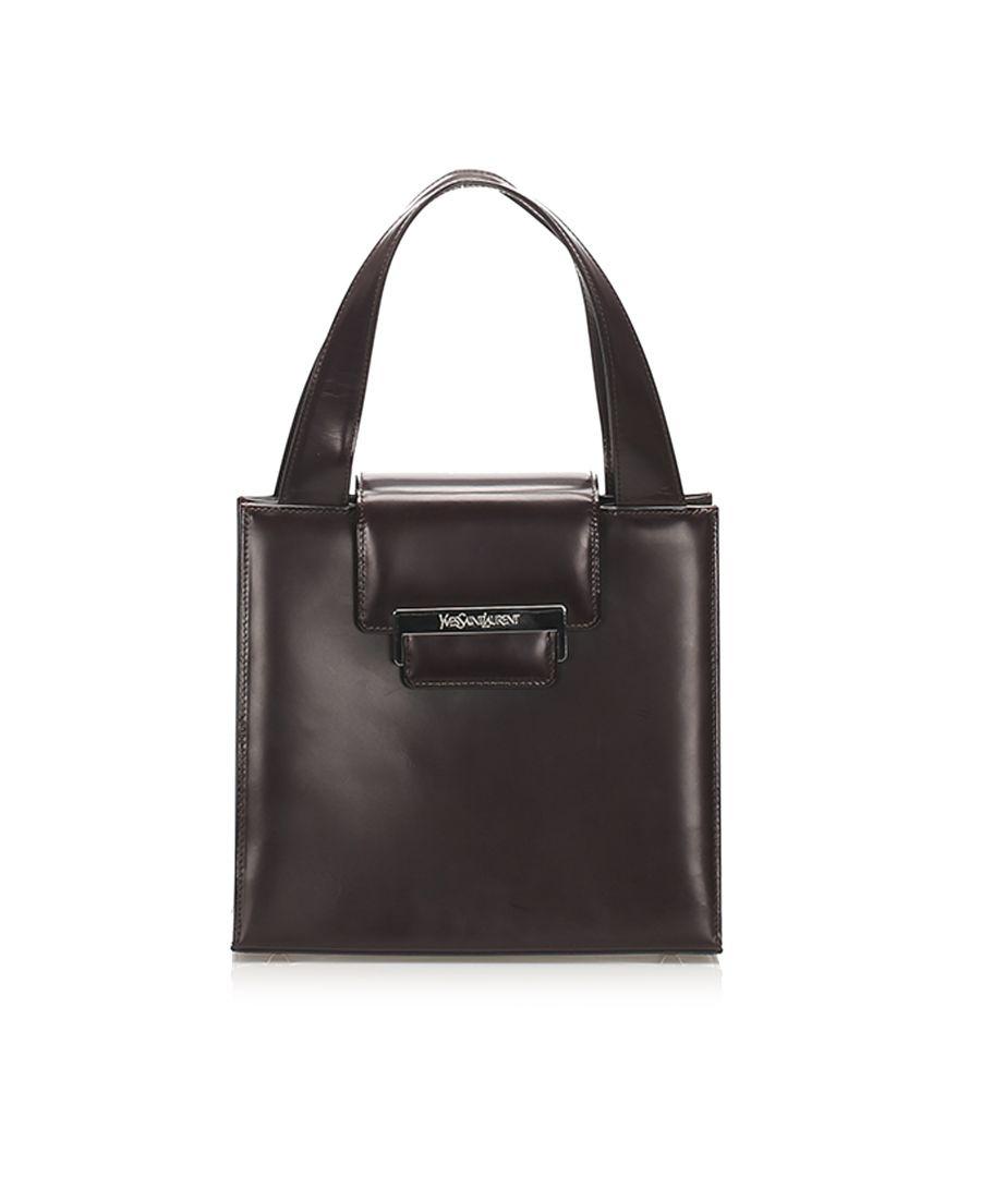 Image for Vintage YSL Leather Handbag Brown