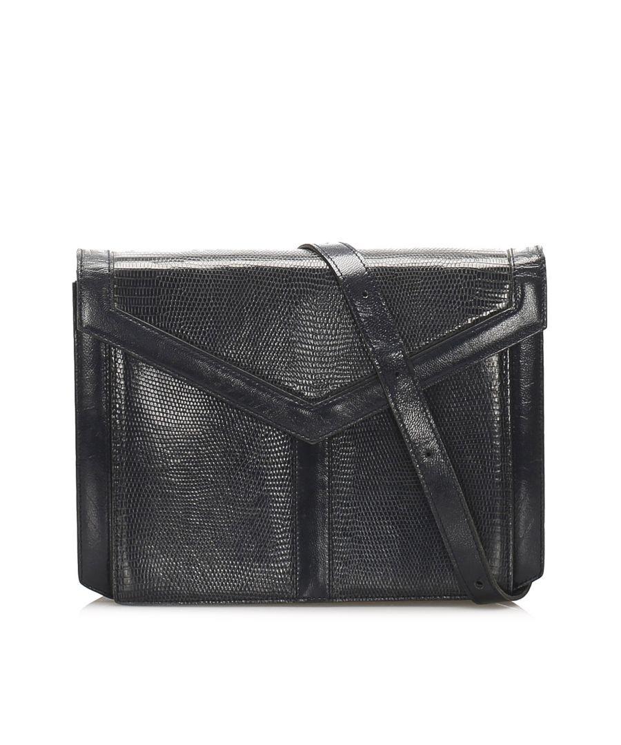 Image for Vintage YSL Lizard Leather Shoulder Bag Brown