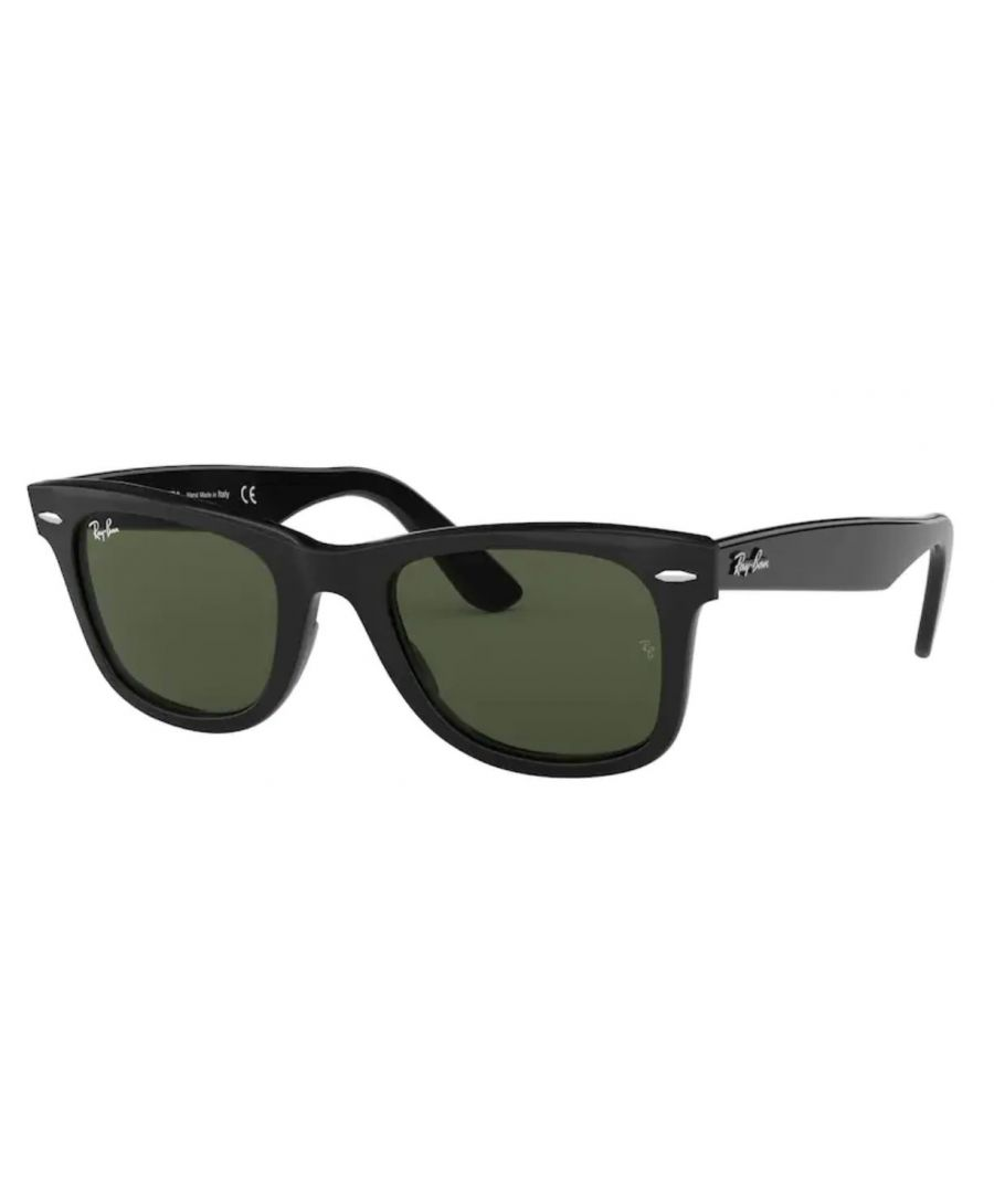 Image for New Rayban Wayfarer Sunglasses in black with green lens