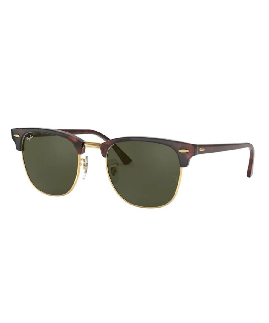 Image for Rayban Clubmaster sunglasses in MOCK TORTOISE ON ARISTA with green lens